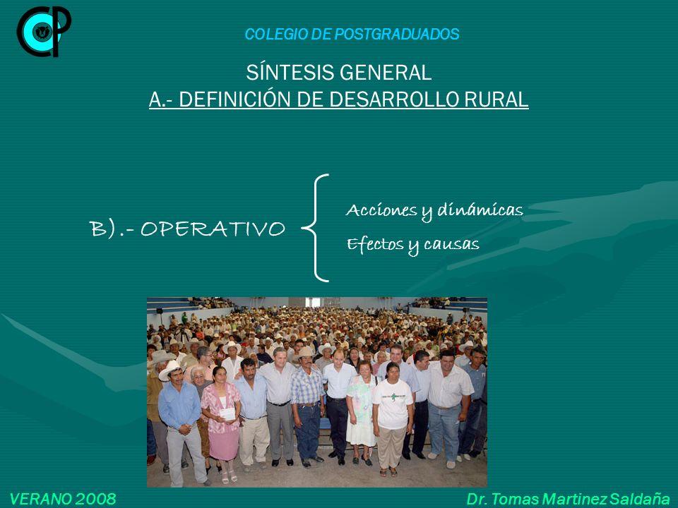 SÍNTESIS GENERAL A.- DEFINICIÓN DE DESARROLLO RURAL B).- OPERATIVO Acciones y dinámicas Efectos y causas COLEGIO DE POSTGRADUADOS VERANO 2008 Dr. Toma