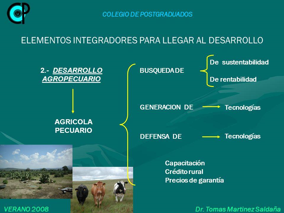 COLEGIO DE POSTGRADUADOS VERANO 2008 Dr. Tomas Martinez Saldaña ELEMENTOS INTEGRADORES PARA LLEGAR AL DESARROLLO 2.- DESARROLLO AGROPECUARIO Capacitac