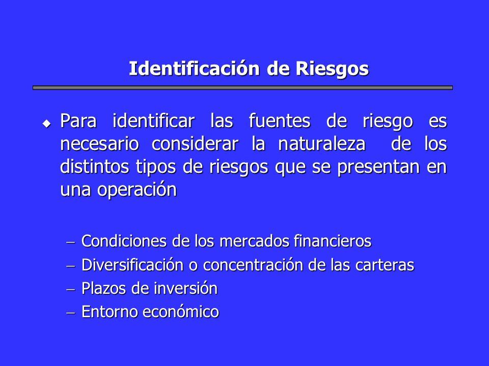 Identificación de Riesgos u Para identificar las fuentes de riesgo es necesario considerar la naturaleza de los distintos tipos de riesgos que se pres