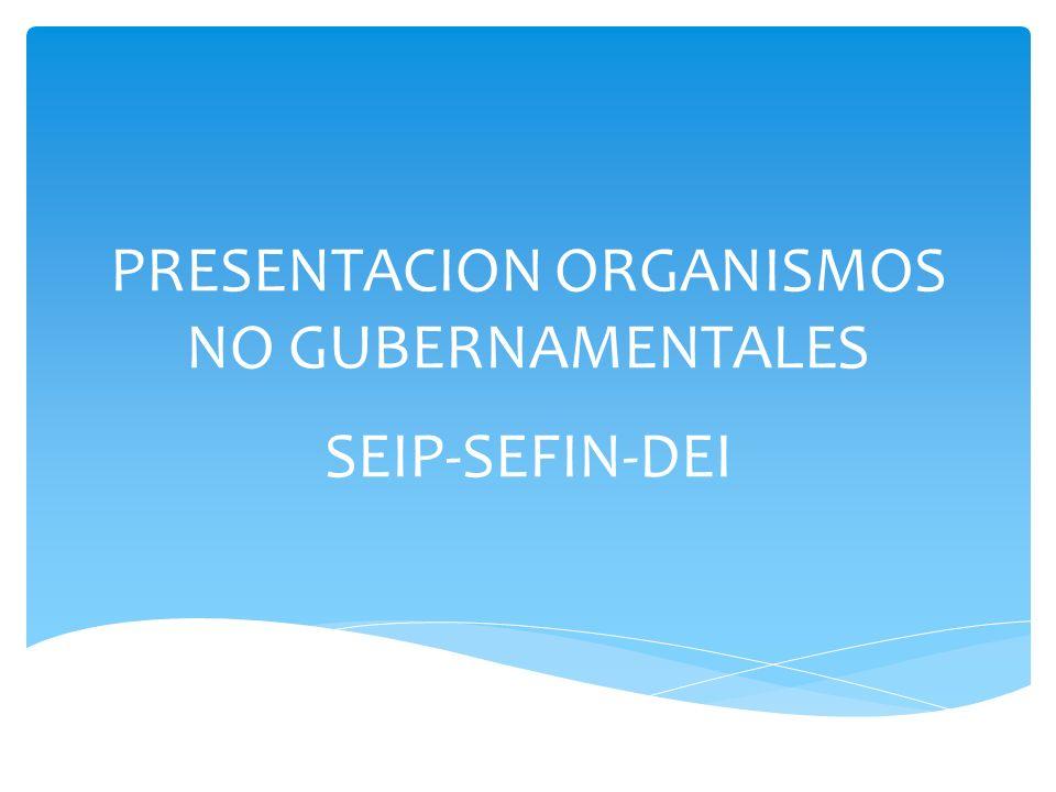 PRESENTACION ORGANISMOS NO GUBERNAMENTALES SEIP-SEFIN-DEI