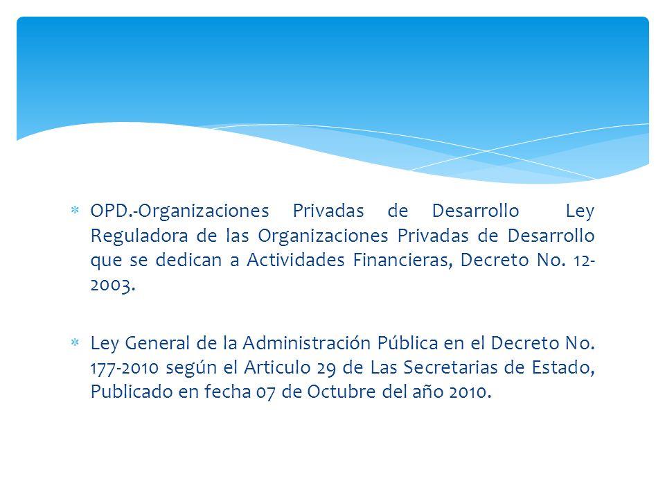 OPD.-Organizaciones Privadas de Desarrollo Ley Reguladora de las Organizaciones Privadas de Desarrollo que se dedican a Actividades Financieras, Decre