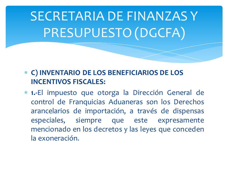 C) INVENTARIO DE LOS BENEFICIARIOS DE LOS INCENTIVOS FISCALES: 1.-El impuesto que otorga la Dirección General de control de Franquicias Aduaneras son
