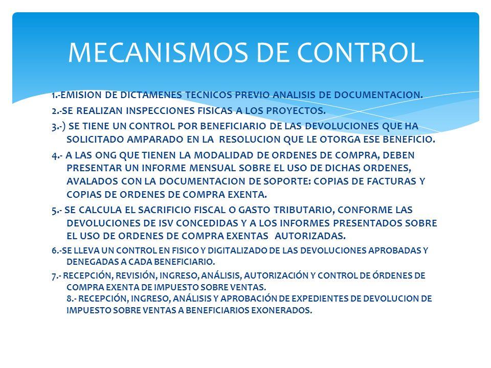1.-EMISION DE DICTAMENES TECNICOS PREVIO ANALISIS DE DOCUMENTACION. 2.-SE REALIZAN INSPECCIONES FISICAS A LOS PROYECTOS. 3.-) SE TIENE UN CONTROL POR