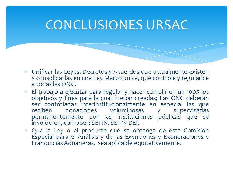 Unificar las Leyes, Decretos y Acuerdos que actualmente existen y consolidarlas en una Ley Marco única, que controle y regularice a todas las ONG. El