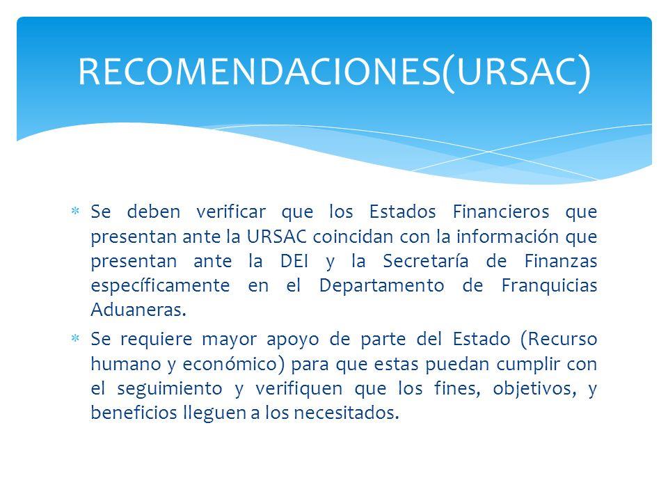 Se deben verificar que los Estados Financieros que presentan ante la URSAC coincidan con la información que presentan ante la DEI y la Secretaría de F