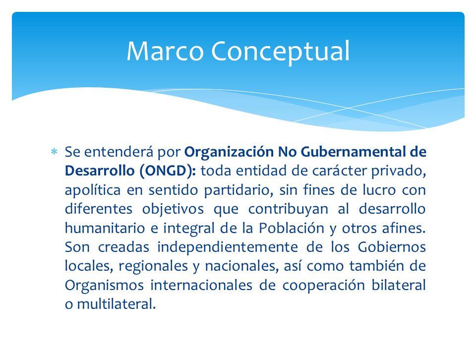 Se entenderá por Organización No Gubernamental de Desarrollo (ONGD): toda entidad de carácter privado, apolítica en sentido partidario, sin fines de l