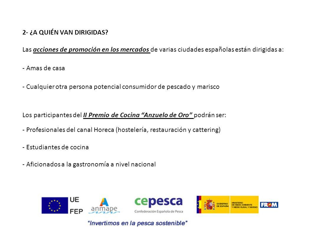 2- ¿A QUIÉN VAN DIRIGIDAS? Las acciones de promoción en los mercados de varias ciudades españolas están dirigidas a: - Amas de casa - Cualquier otra p