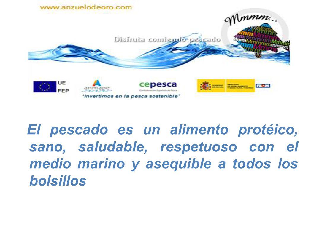 Composición (agua, proteínas, grasa, minerales) del pescado Especie Agua Proteína Grasa Minerales Fracción comestible (%) Bacalao82 17 0,31,0 56% Merluza81 17 0,91,1 58% Lenguado80 18 1,91,1 71% Rodaballo80 17 1,70,7 46% Arenque63 17 181,3 67% Sardina74 19 51,2 59% Caballa68 19 121,3 62% Atún62 22 161,1 61%