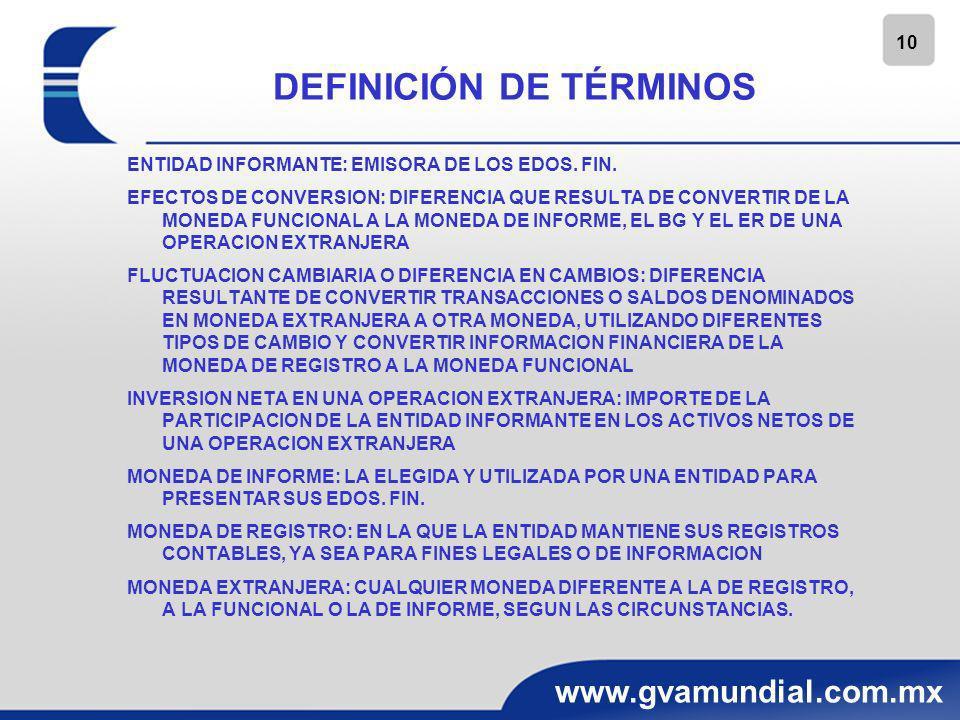 10 www.gvamundial.com.mx DEFINICIÓN DE TÉRMINOS ENTIDAD INFORMANTE: EMISORA DE LOS EDOS. FIN. EFECTOS DE CONVERSION: DIFERENCIA QUE RESULTA DE CONVERT