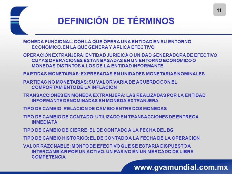11 www.gvamundial.com.mx DEFINICIÓN DE TÉRMINOS MONEDA FUNCIONAL: CON LA QUE OPERA UNA ENTIDAD EN SU ENTORNO ECONOMICO, EN LA QUE GENERA Y APLICA EFEC