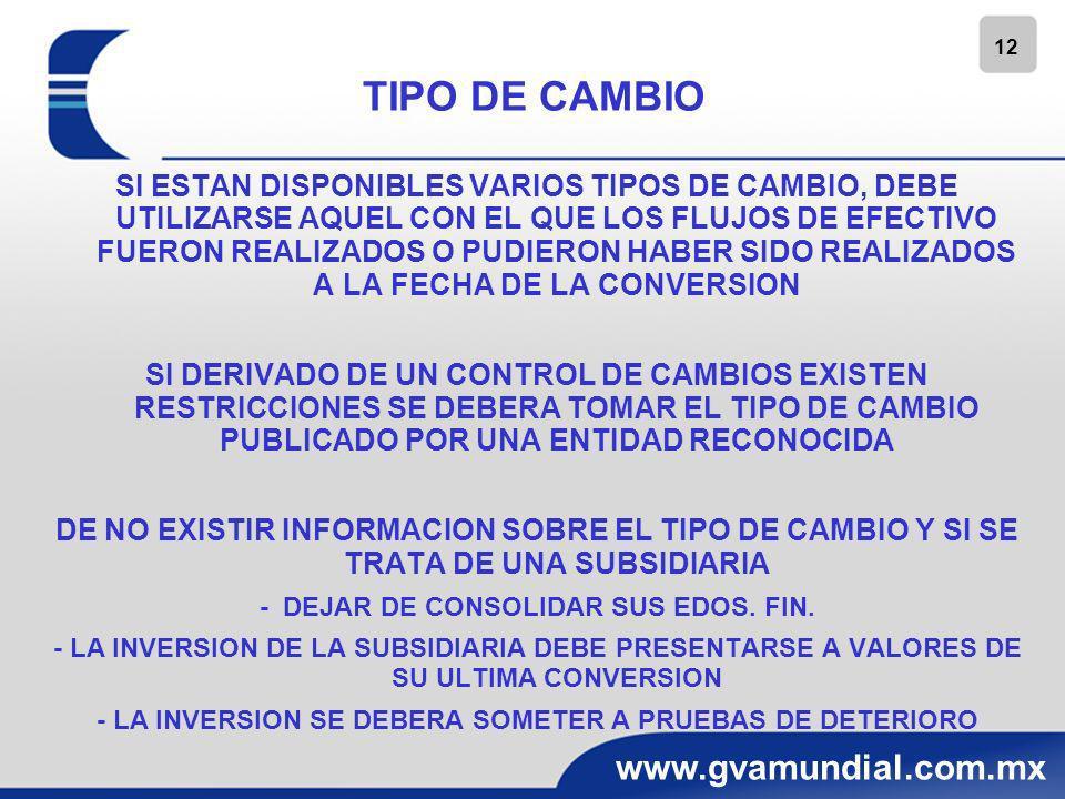 12 www.gvamundial.com.mx TIPO DE CAMBIO SI ESTAN DISPONIBLES VARIOS TIPOS DE CAMBIO, DEBE UTILIZARSE AQUEL CON EL QUE LOS FLUJOS DE EFECTIVO FUERON RE