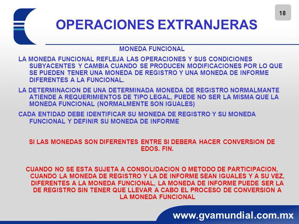 18 www.gvamundial.com.mx OPERACIONES EXTRANJERAS MONEDA FUNCIONAL LA MONEDA FUNCIONAL REFLEJA LAS OPERACIONES Y SUS CONDICIONES SUBYACENTES Y CAMBIA C