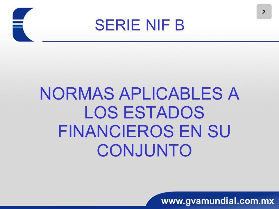 2 www.gvamundial.com.mx SERIE NIF B NORMAS APLICABLES A LOS ESTADOS FINANCIEROS EN SU CONJUNTO