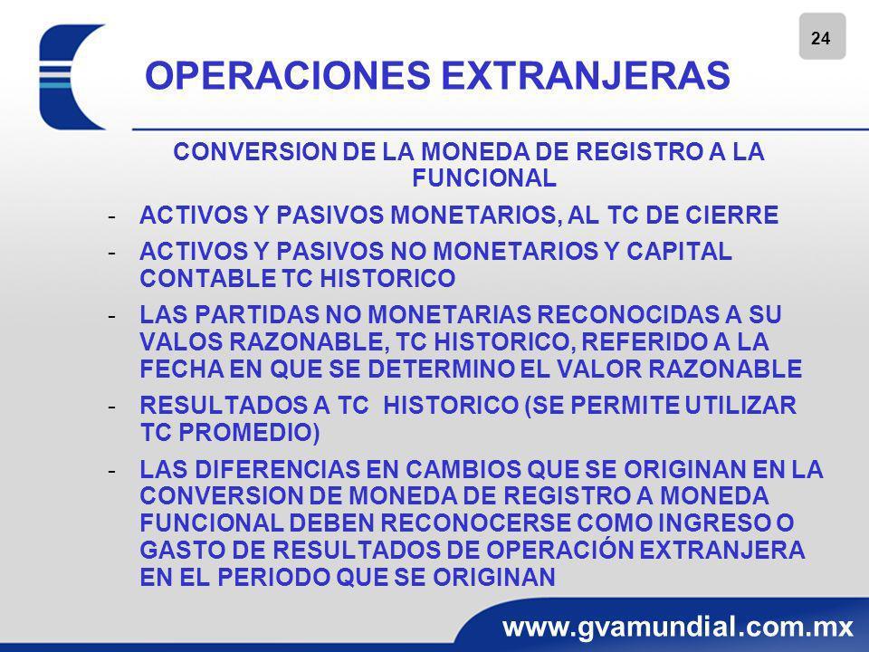 24 www.gvamundial.com.mx OPERACIONES EXTRANJERAS CONVERSION DE LA MONEDA DE REGISTRO A LA FUNCIONAL -ACTIVOS Y PASIVOS MONETARIOS, AL TC DE CIERRE -AC