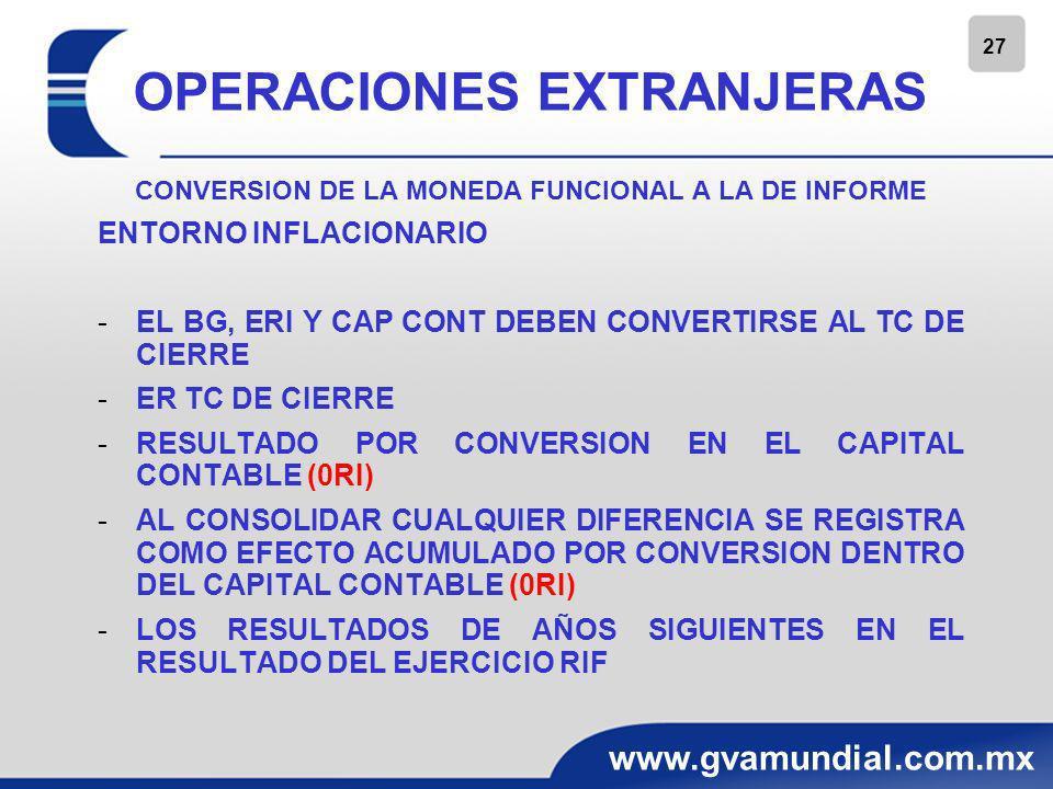 27 www.gvamundial.com.mx OPERACIONES EXTRANJERAS CONVERSION DE LA MONEDA FUNCIONAL A LA DE INFORME ENTORNO INFLACIONARIO -EL BG, ERI Y CAP CONT DEBEN