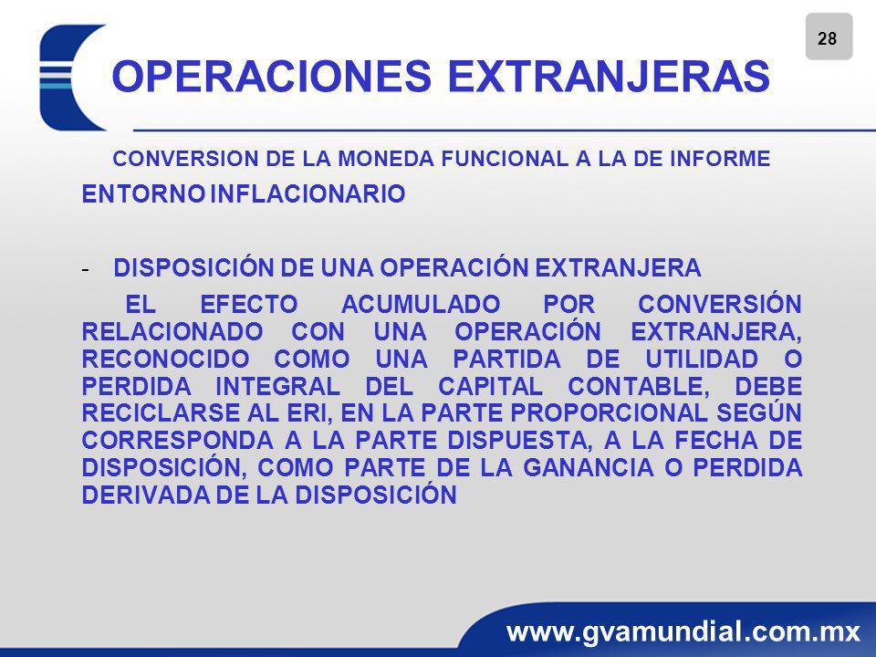 28 www.gvamundial.com.mx OPERACIONES EXTRANJERAS CONVERSION DE LA MONEDA FUNCIONAL A LA DE INFORME ENTORNO INFLACIONARIO -DISPOSICIÓN DE UNA OPERACIÓN