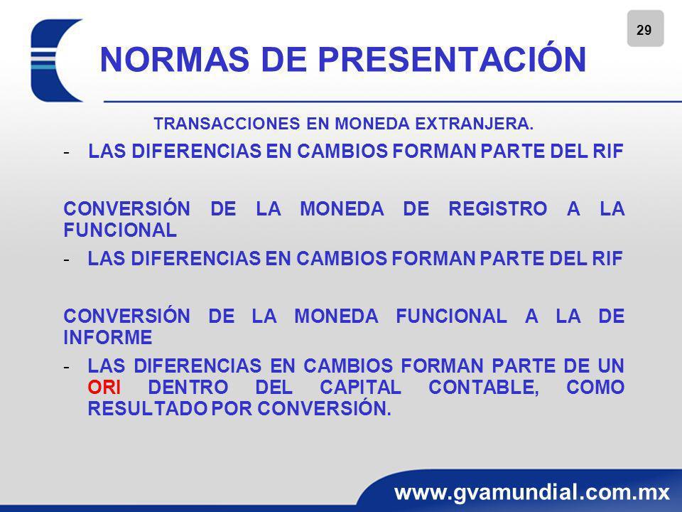 29 www.gvamundial.com.mx NORMAS DE PRESENTACIÓN TRANSACCIONES EN MONEDA EXTRANJERA. -LAS DIFERENCIAS EN CAMBIOS FORMAN PARTE DEL RIF CONVERSIÓN DE LA