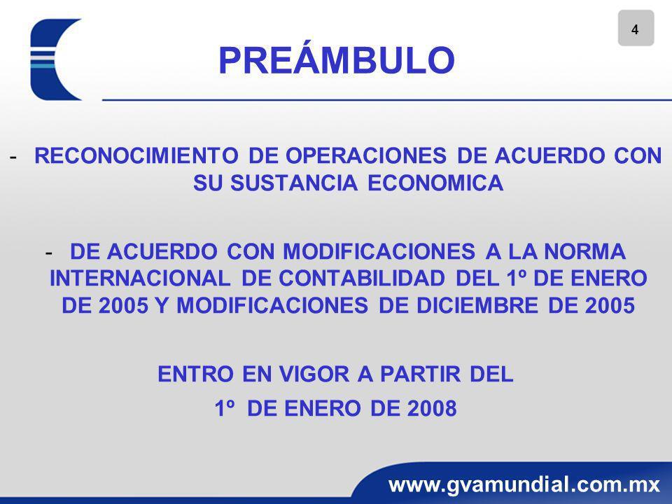 4 www.gvamundial.com.mx PREÁMBULO -RECONOCIMIENTO DE OPERACIONES DE ACUERDO CON SU SUSTANCIA ECONOMICA -DE ACUERDO CON MODIFICACIONES A LA NORMA INTER