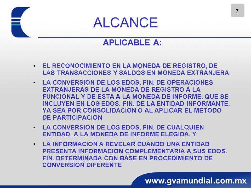 7 www.gvamundial.com.mx ALCANCE APLICABLE A: EL RECONOCIMIENTO EN LA MONEDA DE REGISTRO, DE LAS TRANSACCIONES Y SALDOS EN MONEDA EXTRANJERA LA CONVERS