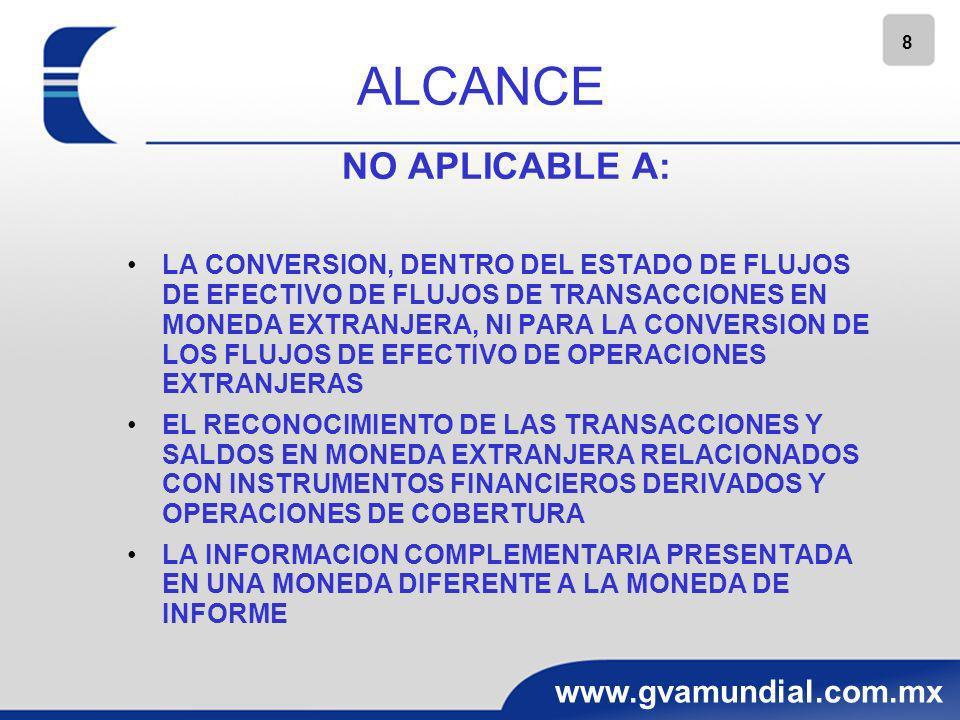 8 www.gvamundial.com.mx ALCANCE NO APLICABLE A: LA CONVERSION, DENTRO DEL ESTADO DE FLUJOS DE EFECTIVO DE FLUJOS DE TRANSACCIONES EN MONEDA EXTRANJERA