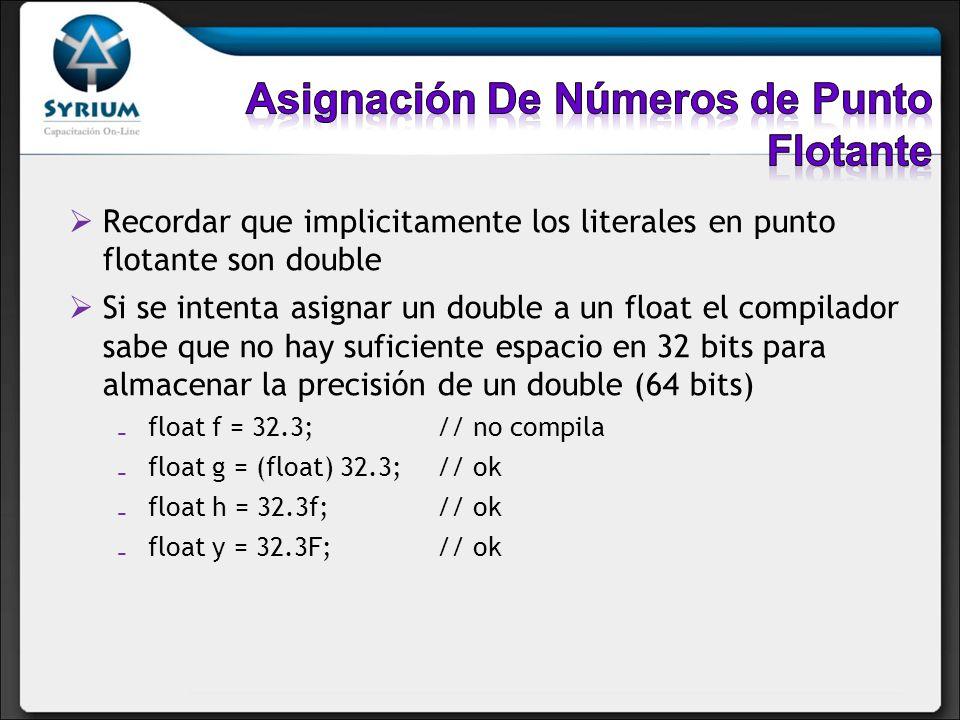 Recordar que implicitamente los literales en punto flotante son double Si se intenta asignar un double a un float el compilador sabe que no hay sufici