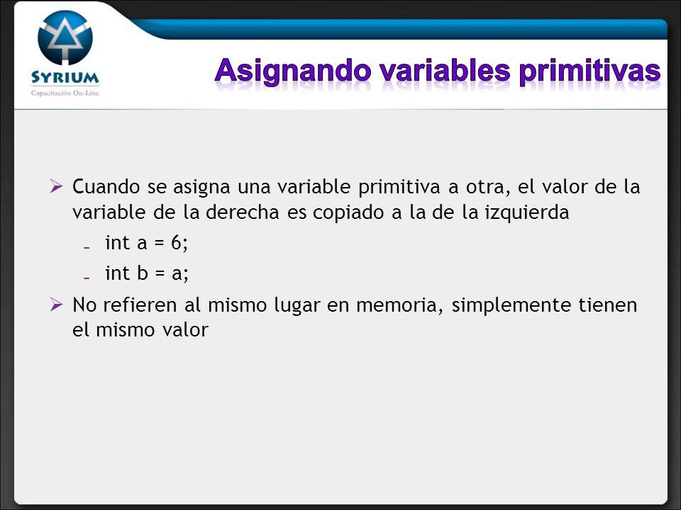 Cuando se asigna una variable primitiva a otra, el valor de la variable de la derecha es copiado a la de la izquierda int a = 6; int b = a; No refiere