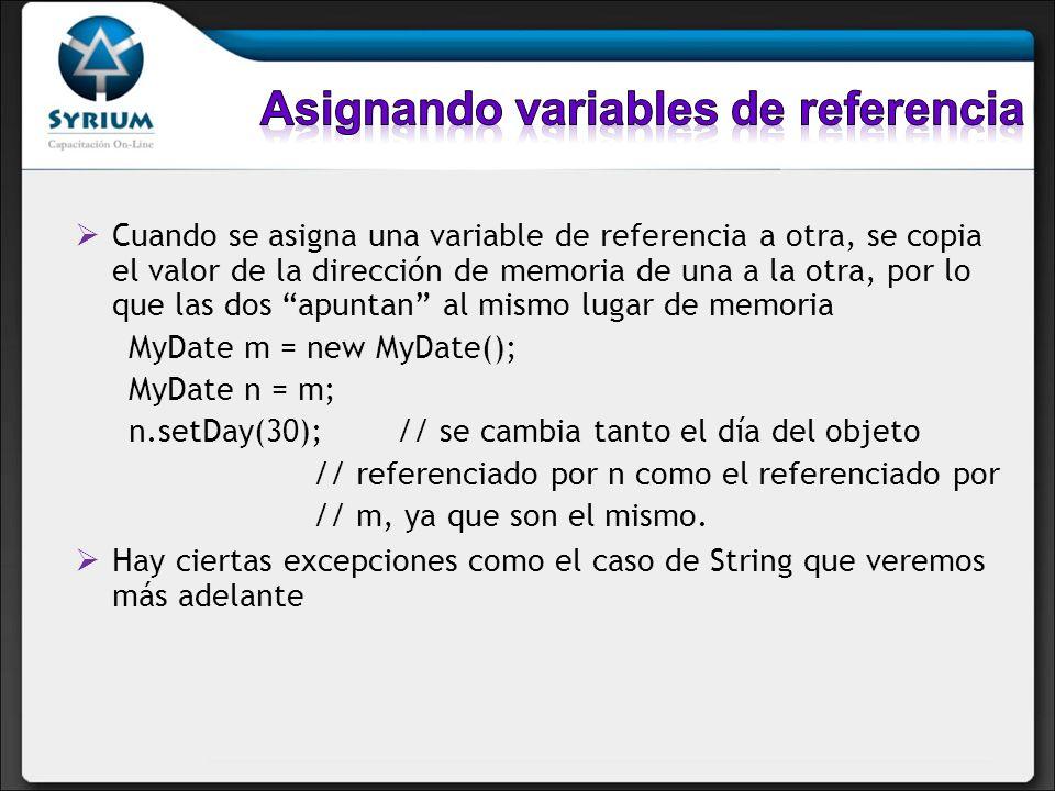 Cuando se asigna una variable de referencia a otra, se copia el valor de la dirección de memoria de una a la otra, por lo que las dos apuntan al mismo