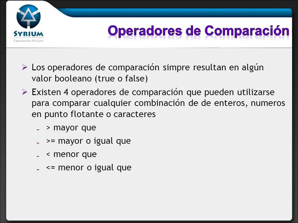Los operadores de comparación simpre resultan en algún valor booleano (true o false) Existen 4 operadores de comparación que pueden utilizarse para co
