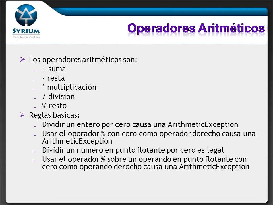 Los operadores aritméticos son: + suma - resta * multiplicación / división % resto Reglas básicas: Dividir un entero por cero causa una ArithmeticExce