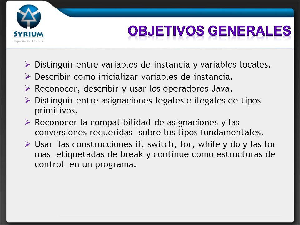 Distinguir entre variables de instancia y variables locales. Describir cómo inicializar variables de instancia. Reconocer, describir y usar los operad