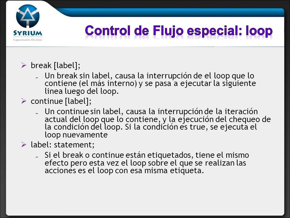 break [label]; Un break sin label, causa la interrupción de el loop que lo contiene (el más interno) y se pasa a ejecutar la siguiente linea luego del