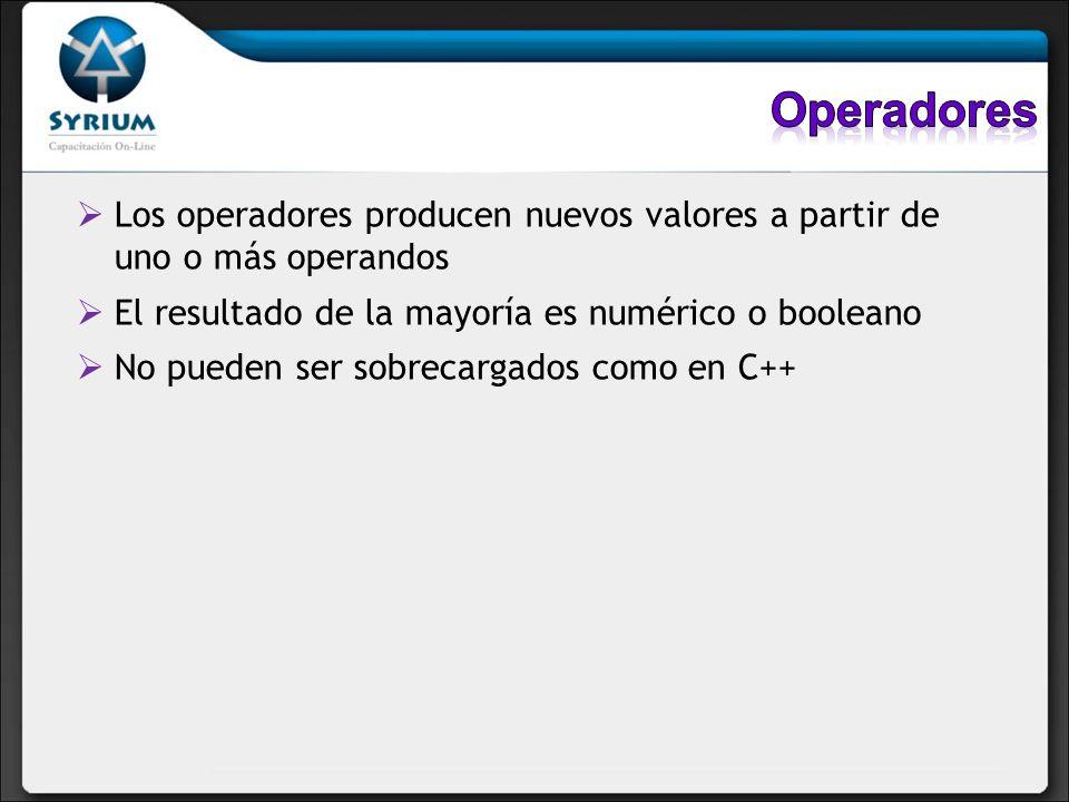 Los operadores producen nuevos valores a partir de uno o más operandos El resultado de la mayoría es numérico o booleano No pueden ser sobrecargados c