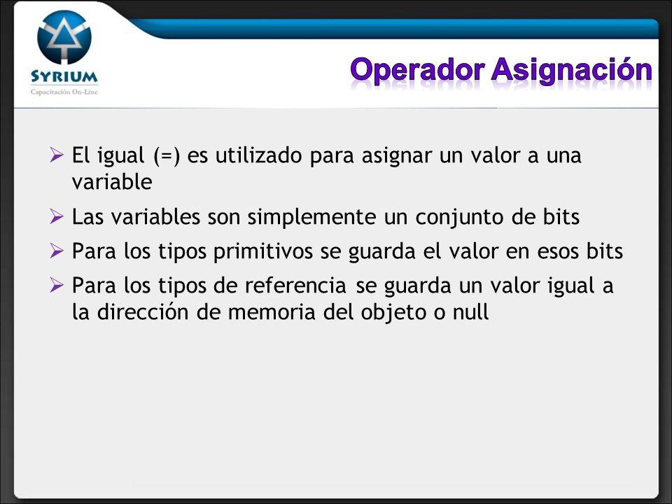 Existen 12 operadores de asignación incluyendo el igual (=) Los otros 11 son combinaciones del signo de igual con algún otro operador (compound assignment operators)
