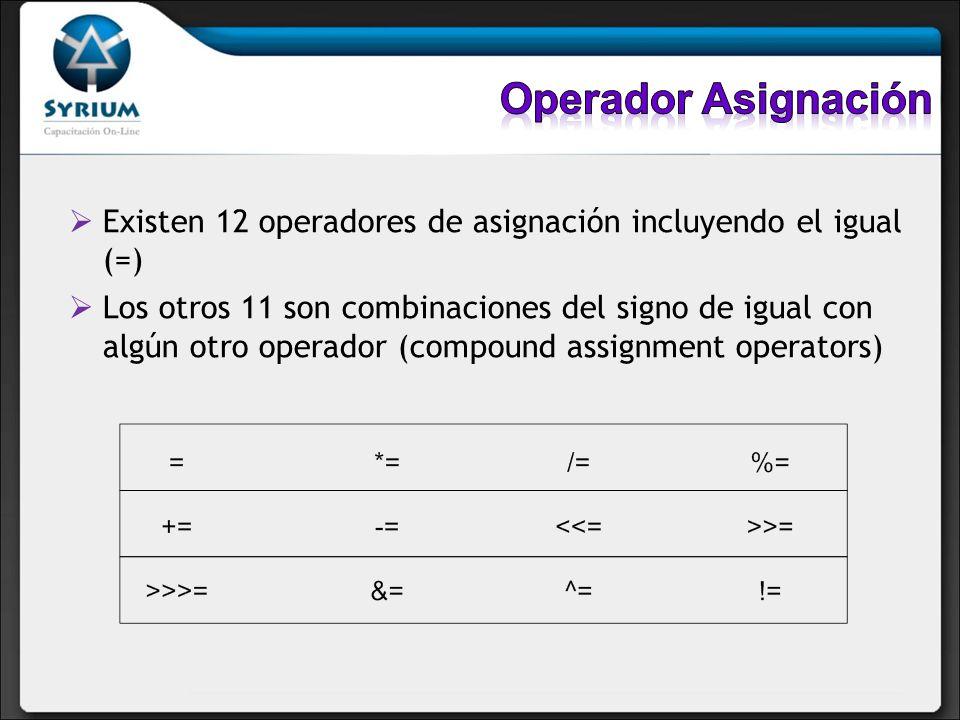 Existen 12 operadores de asignación incluyendo el igual (=) Los otros 11 son combinaciones del signo de igual con algún otro operador (compound assign