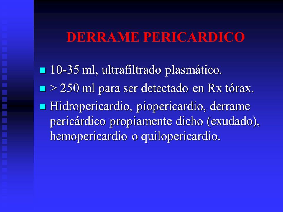 DERRAME PERICARDICO 10-35 ml, ultrafiltrado plasmático. 10-35 ml, ultrafiltrado plasmático. > 250 ml para ser detectado en Rx tórax. > 250 ml para ser