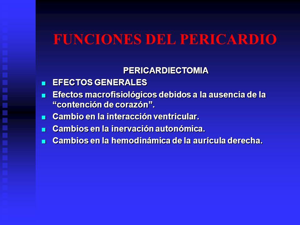 FUNCIONES DEL PERICARDIO PERICARDIECTOMIA EFECTOS GENERALES EFECTOS GENERALES Efectos macrofisiológicos debidos a la ausencia de la contención de cora