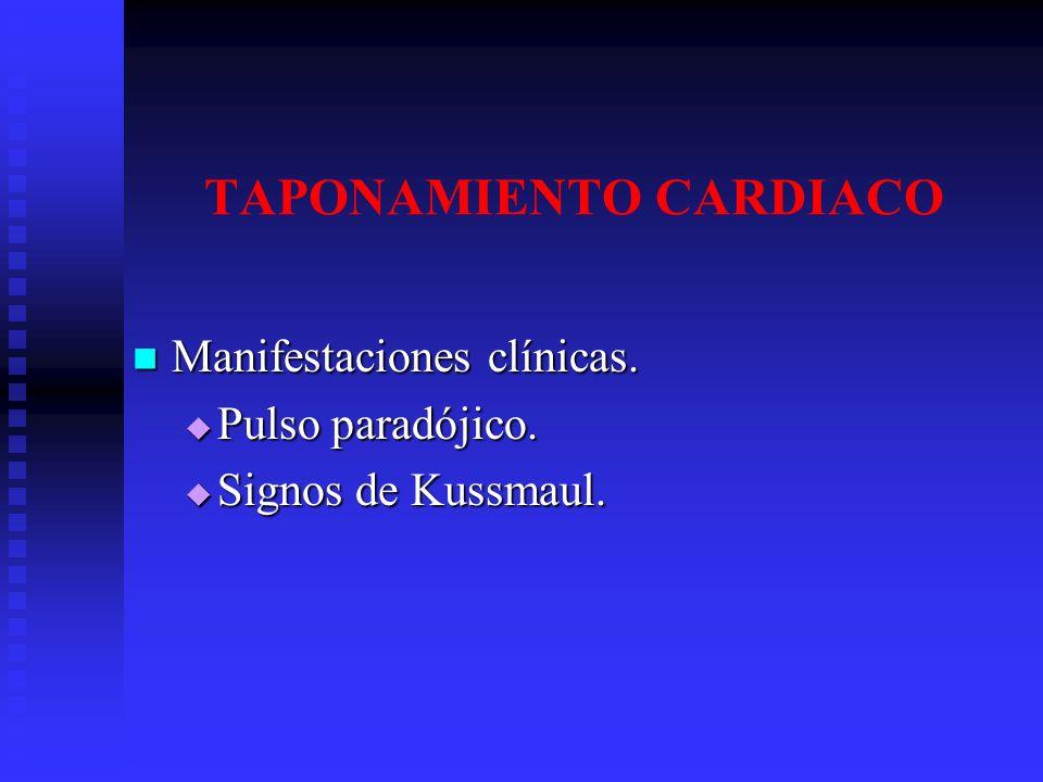 TAPONAMIENTO CARDIACO Manifestaciones clínicas. Manifestaciones clínicas. Pulso paradójico. Pulso paradójico. Signos de Kussmaul. Signos de Kussmaul.