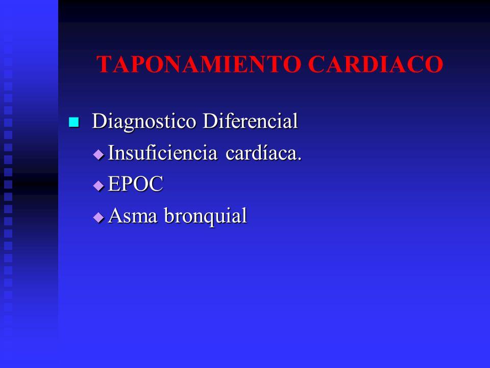 TAPONAMIENTO CARDIACO Diagnostico Diferencial Diagnostico Diferencial Insuficiencia cardíaca. Insuficiencia cardíaca. EPOC EPOC Asma bronquial Asma br