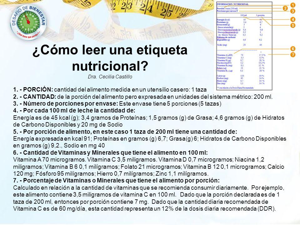 1. - PORCIÓN: cantidad del alimento medida en un utensilio casero: 1 taza 2. - CANTIDAD: de la porción del alimento pero expresada en unidades del sis