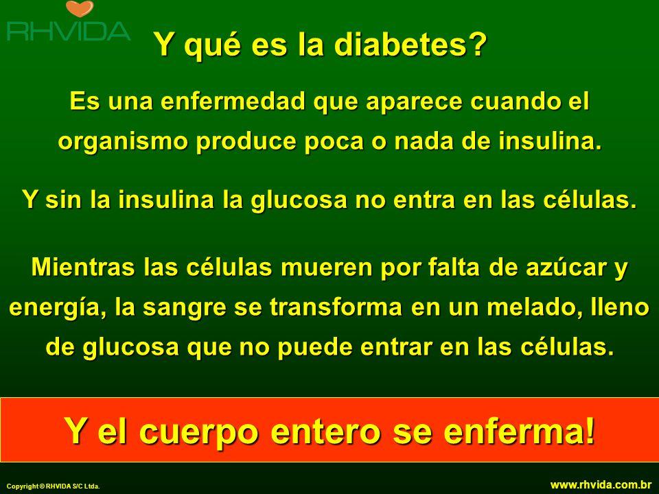 Copyright © RHVIDA S/C Ltda. www.rhvida.com.br Y qué es la diabetes? Es una enfermedad que aparece cuando el organismo produce poca o nada de insulina