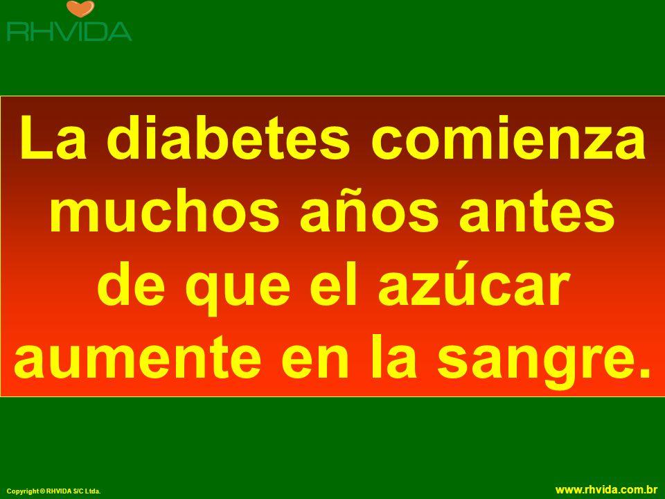 Copyright © RHVIDA S/C Ltda. www.rhvida.com.br La diabetes comienza muchos años antes de que el azúcar aumente en la sangre.