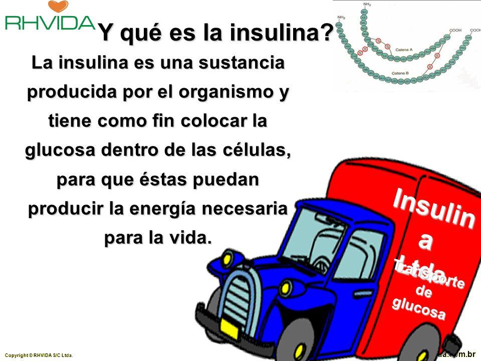 Copyright © RHVIDA S/C Ltda. www.rhvida.com.br La insulina es una sustancia producida por el organismo y tiene como fin colocar la glucosa dentro de l