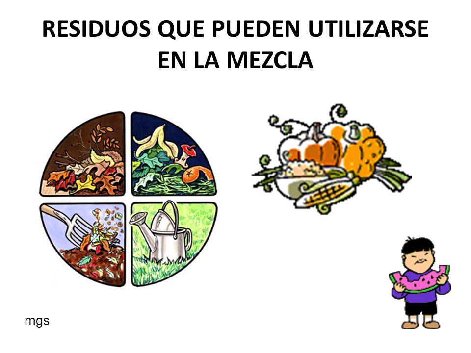 Residuos de vegetales, farináceos, frutas y cáscara de huevos mgs