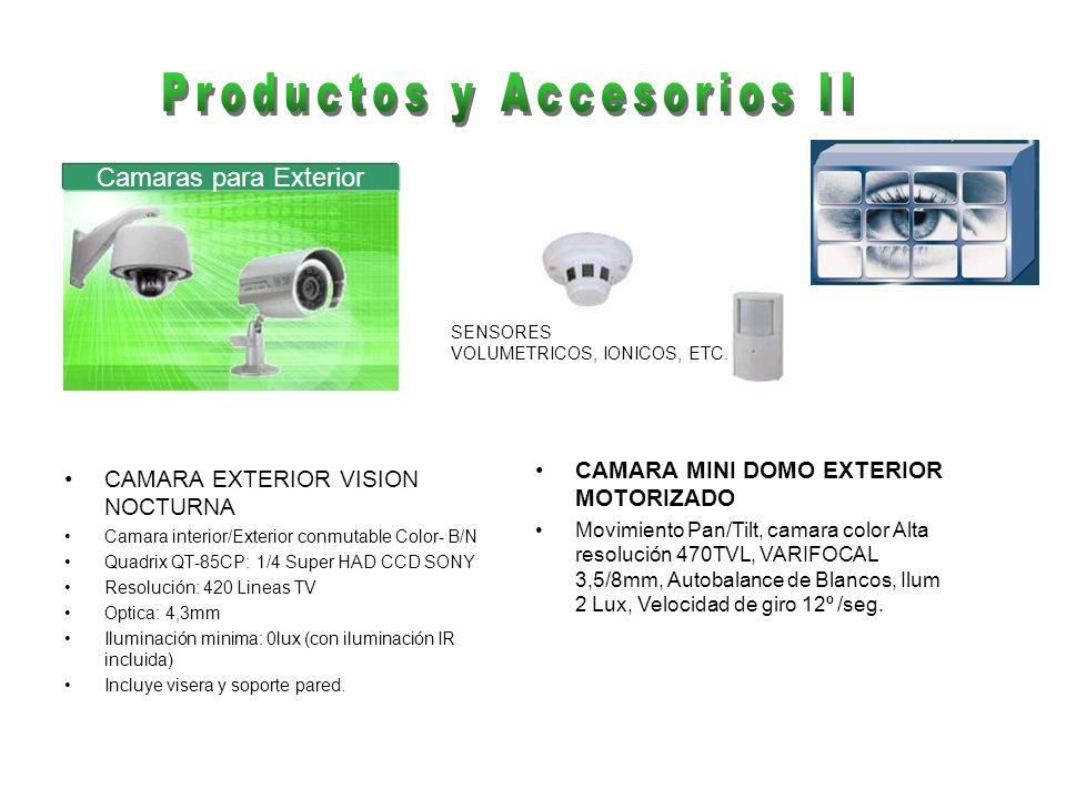 CAMARA EXTERIOR VISION NOCTURNA Camara interior/Exterior conmutable Color- B/N Quadrix QT-85CP: 1/4 Super HAD CCD SONY Resolución: 420 Lineas TV Optic