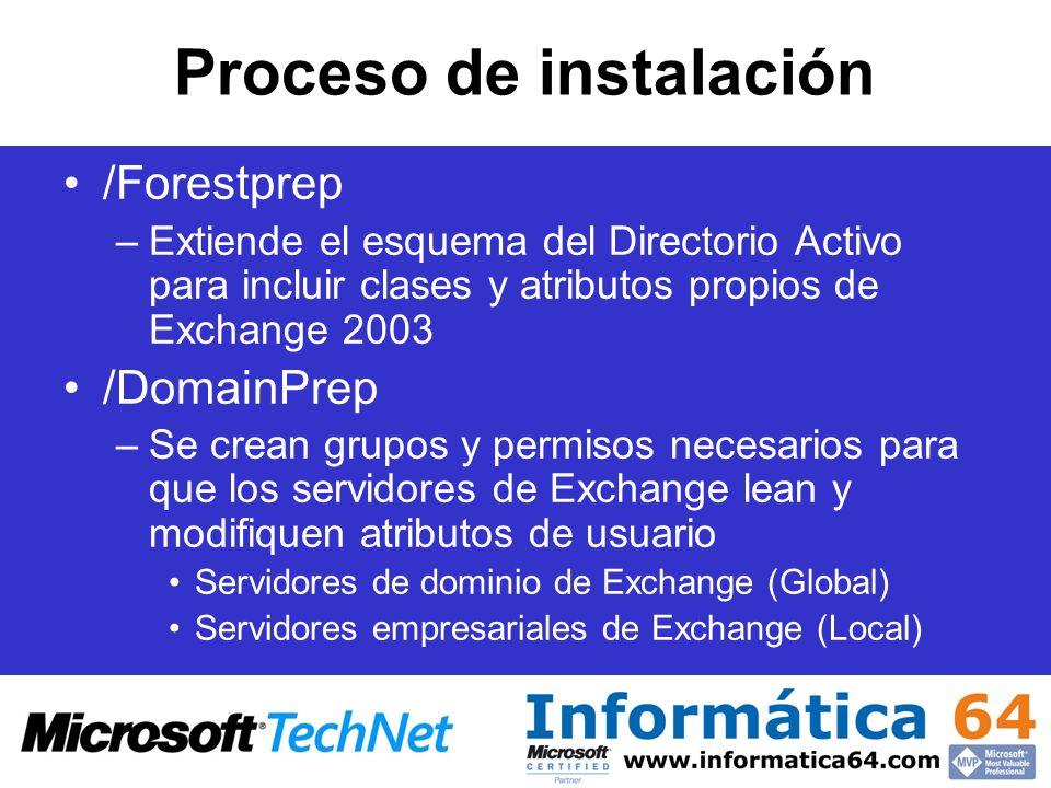 Proceso de instalación /Forestprep –Extiende el esquema del Directorio Activo para incluir clases y atributos propios de Exchange 2003 /DomainPrep –Se