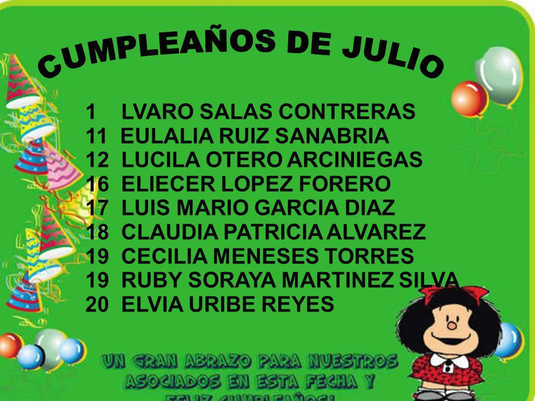 1 LVARO SALAS CONTRERAS 11 EULALIA RUIZ SANABRIA 12 LUCILA OTERO ARCINIEGAS 16 ELIECER LOPEZ FORERO 17 LUIS MARIO GARCIA DIAZ 18 CLAUDIA PATRICIA ALVA