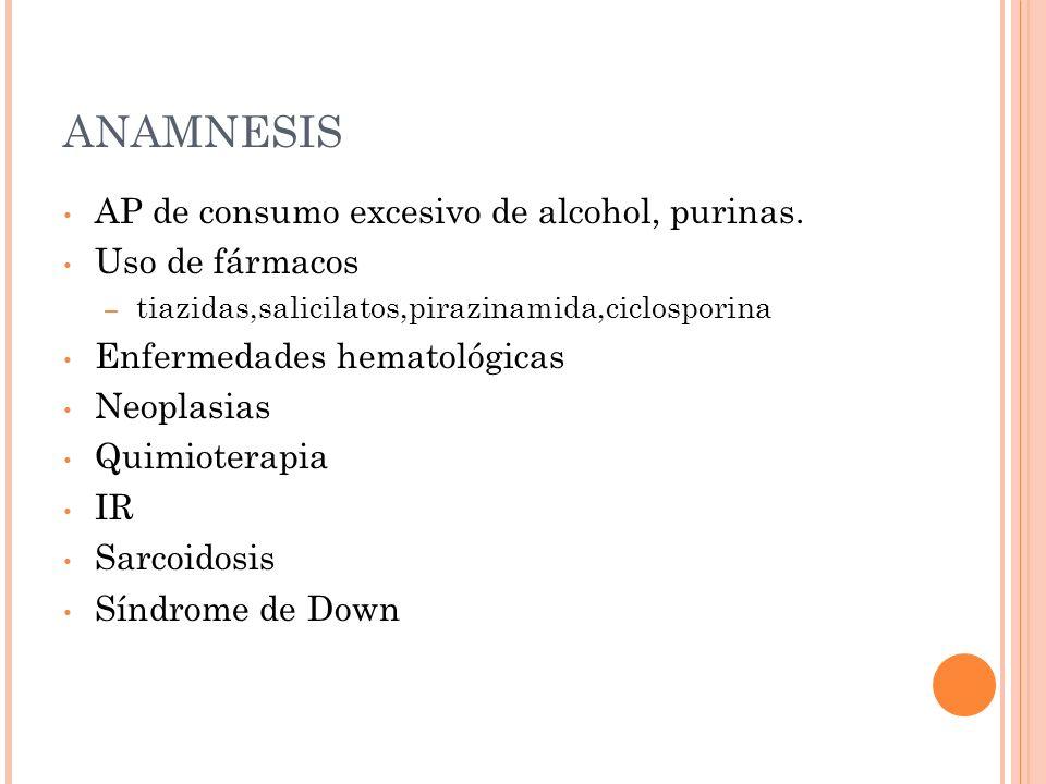 ANAMNESIS AP de consumo excesivo de alcohol, purinas. Uso de fármacos – tiazidas,salicilatos,pirazinamida,ciclosporina Enfermedades hematológicas Neop