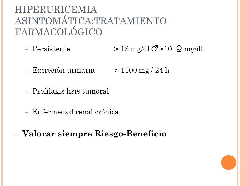 HIPERURICEMIA ASINTOMÁTICA:TRATAMIENTO FARMACOLÓGICO – Persistente > 13 mg/dl >10 mg/dl – Excreción urinaria > 1100 mg / 24 h – Profilaxis lisis tumor
