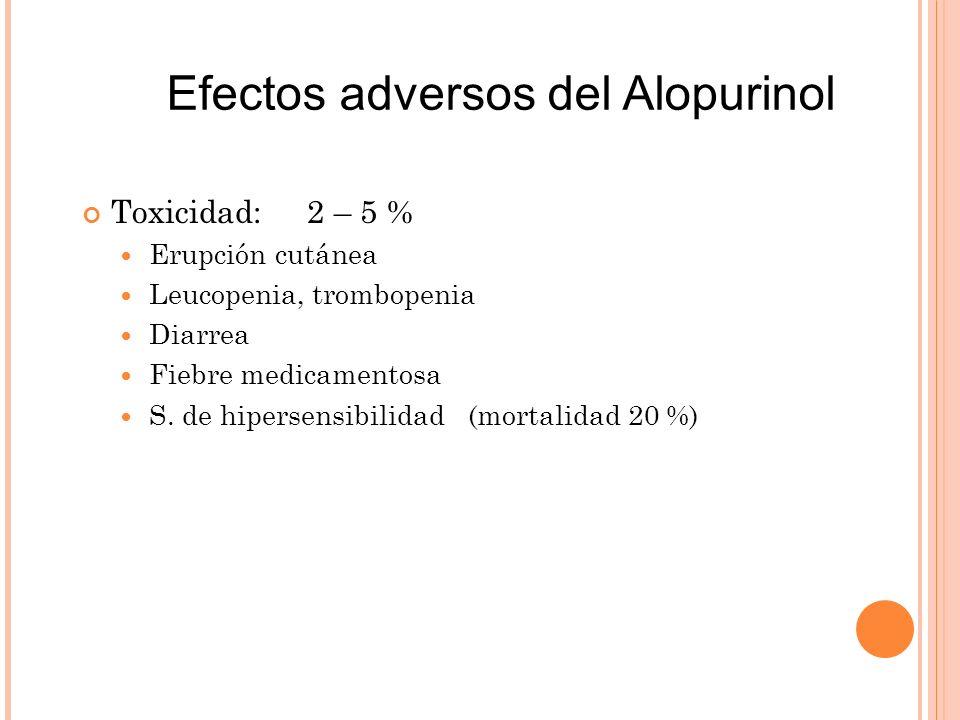 Toxicidad: 2 – 5 % Erupción cutánea Leucopenia, trombopenia Diarrea Fiebre medicamentosa S. de hipersensibilidad (mortalidad 20 %) Efectos adversos de