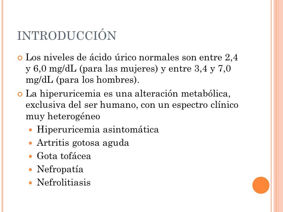 INTRODUCCIÓN Los niveles de ácido úrico normales son entre 2,4 y 6,0 mg/dL (para las mujeres) y entre 3,4 y 7,0 mg/dL (para los hombres). La hiperuric